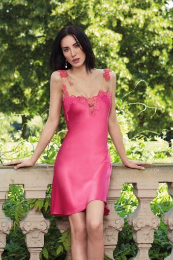 Seidennegligé Luxury Lace von Luna di Seta in fuchsia pink