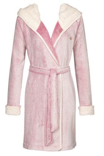Kuschel Morgenmantel Robe Bicolor rosa von Triumph