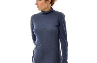 Rollkragen-Shirt und Leggings Seide-Wolle nachtblau 757 von ALKENA