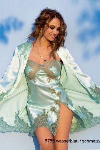 Seidennegligé und Kimono Rare wasserblau von Marjolaine