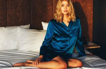 Sleepshirt aus Seide dunkelblau von Gattina