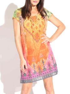Baumwolle Batist Kurzarm Kleid Marakesch orange bunt von Gattina