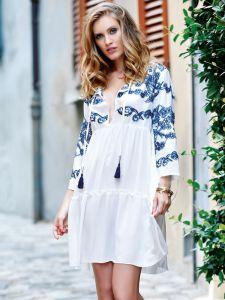Viscose Sommerkleid mit Stickerei weiß blau von Chiara Fiorini