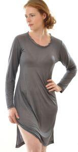 Langarm-Nachthemd anthrazit grau aus Bio-Seide Feinjersey von Alkena