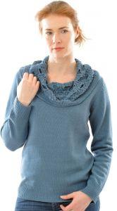 100% Bouretteseide Pullover mit Umschlag-Kragen in taubenblau