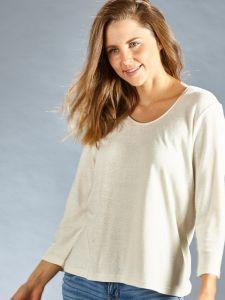 100% Bouretteseide Shirt naturweiß mit 3/4 Ärmeln von Kokon Zwo