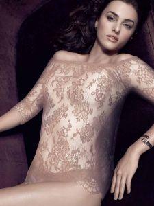 Spitze Langarm Shirt mit Carmen Ausschnitt Inessa altrosa von Escora