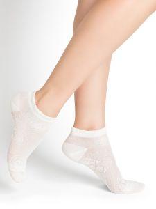 Damen Sneaker Socken mit Blumenmuster aus 74% Seide in schnee von Bleuforêt