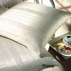 Seidenkissenbezug Diana Champagner natur-weiß gestreift von Spinnhütte Cellini