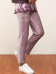 Lounge Hose Modal Samt malve - das Oberteil ist nicht im Lieferumfang enthalten