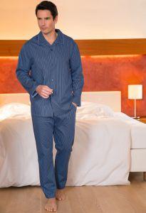 Herren Schlafanzug Ben aus gestreiftem Baumwollsatin