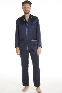 Herren Schlafanzug Pura Seta dunkelblau mit Biese von Verdiani