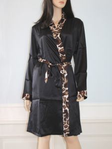 Kimono Seide Serengeti schwarz mit Animal-Print von Eva B. Bitzer