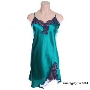 Seidennachthemd Royal Lace in smaragdgrün mit dunkelblauer Spitze von Luna di Seta
