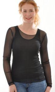 Langarm Shirt schwarz aus Bio-Seide Netztüll von Alkena - das Unterhemd ist nicht im Lieferumfang enthalten