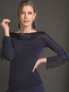 Langarm Shirt mit U-Boot Ausschnitt Merino Wolle Seide nachtblau von Artimaglia