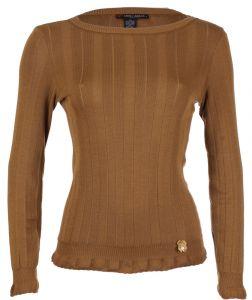 Rundhals Shirt breite Rippe cognac braun aus Wolle Seide Merino von Artimaglia