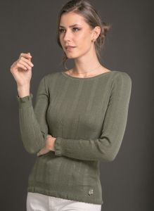 Rundhals Shirt breite Rippe kaki grün aus Wolle Seide Merino von Artimaglia