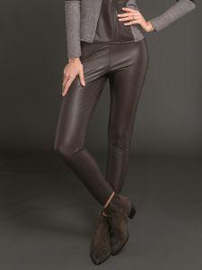 Lederlook Leggings schoko braun elastisch und glänzend von Artimaglia