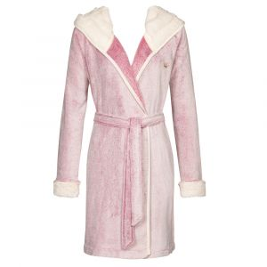 Plüsch Morgenmantel Robe Bicolor rosa von Triumph