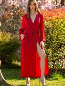 Langer Seiden-Morgenmantel Laurian rouge rot von Marjolaine