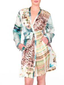 Kimono Seide wasserblau mit Leo-Print von Eva B. Bitzer