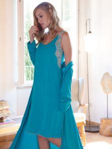 Modal Nachthemd türkis-grün von Chiara Fiorini - der Morgenmantel ist nicht im Lieferumfang enthalten