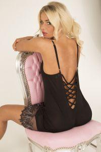 Seidennachthemd Pure de Luxe aus Seidenjersey mit Spitze von Gattina schwarz