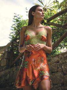 100% Seide Baby-Doll Tropical Garden orange-bunt von Luna di Seta