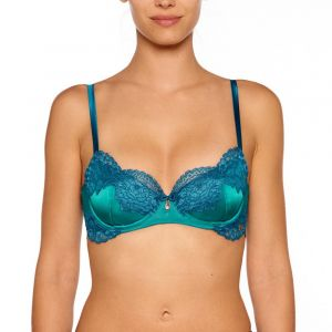 Seide Balconette BH Adriana türkis mit blauer Spitze von Millesia