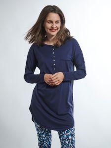 Seide mit Bio Baumwolle Sleepshirt von Kokon Zwo marineblau