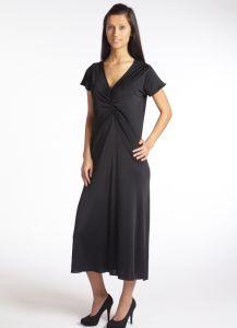 Kurzarm Nachthemd lang Seide Jersey Gattina Moyenne schwarz