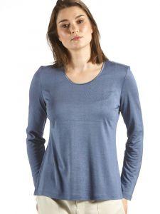 Seidenshirt Cinda No. 2 Seide Leinen Langarm Shirt rauchblau von Kokon Zwo