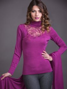Merinowolle-Seide Rollkragen Shirt mit schweizer Spitze von Artimaglia fuchsia
