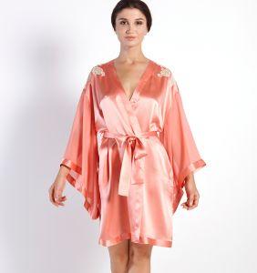 Seide Morgenmantel mit weiten Ärmeln Jewel Lace in apricot von Luna di Seta