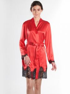 100% Seide Kimono Soie d´Amour rot-schwarz von Aubade