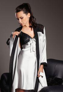 Seide Morgenmantel Vancouver silber-schwarz von Gattina - das Nachthemd ist nicht im Lieferumfang enthalten