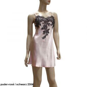 Seidennachthemd Baccarat puder-rosé mit schwarzer Spitze von Marjolaine