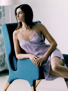 Seide Nachthemd Stripes Print rosa mit hellgrau von Luna di Seta