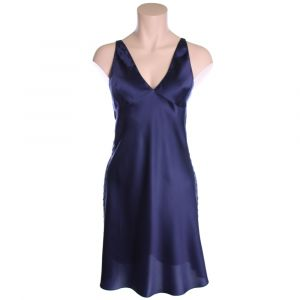 Seidennachthemd Piping tintenblau von Luna di Seta