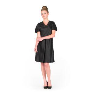 Seide Kurzarm-Nachthemd Sakhali schwarz von Gattina