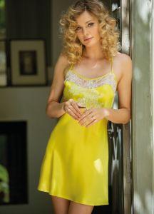 100% Seide Nachthemd Jasmin citron gelb von Marjolaine