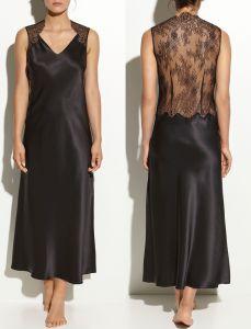 Seidennegligé Couture Lace schwarz von Luna di Seta