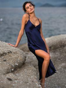Seidenkleid Seidennachthemd New Seduction nachtblau von Luna di Seta