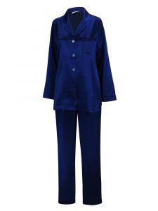 Pyjama Klassik Seide Satin blau Eva B. Bitzer