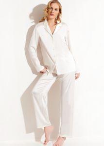 Seidenpyjama Seta in elfenbein-weiß von Chiara Fiorini