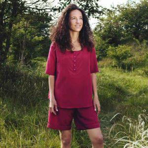 Kurzer Reiseschlafanzug aus Seide mit Mako Baumwolle in rot für Damen von Traveler´s Tree®