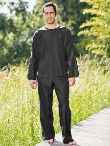 Schwarzer Reiseschlafanzug aus Seide-Baumwolle für Herren von Traveler´s Tree®