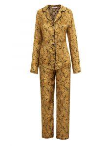 100% Seide Pyjama Serpente cognac mit Schlangen Print von Eva B. Bitzer