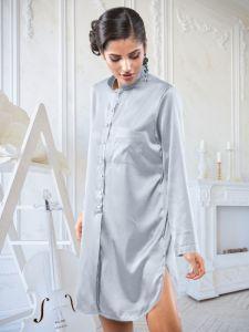Seide Sleepshirt Poderosa in silber von Cotton Club